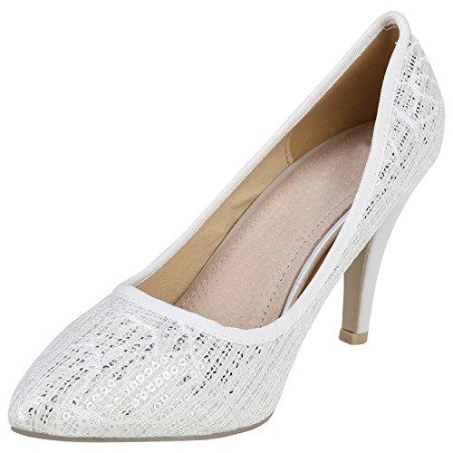 Stiefelparadies Elegante Spitze Pumps Damen High Heels Lack Stilettos Animal Print Flandell Weiss Pailletten