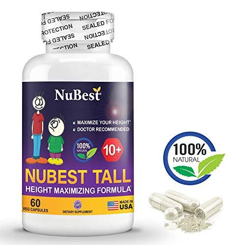 Maximum Natural Height Growth Formula - NuBest Tall 10+ - Herbal Peak Height Pills - Grow Taller Supplements - 60 Capsules - Doctor Recommended - for People Who Drink Milk Regularly