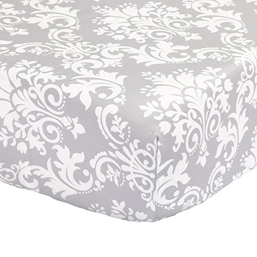 Grey Damask Fitted Crib Sheet - 100% Cotton Sateen Floral Design
