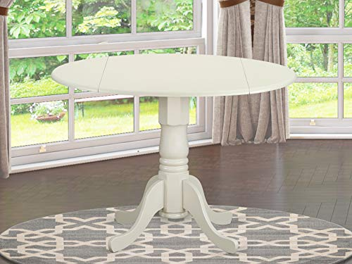 East West Furniture DLT-WHI-TP Round Table with Two 9-Inch Drop Leaves (Table Chairs Round For)