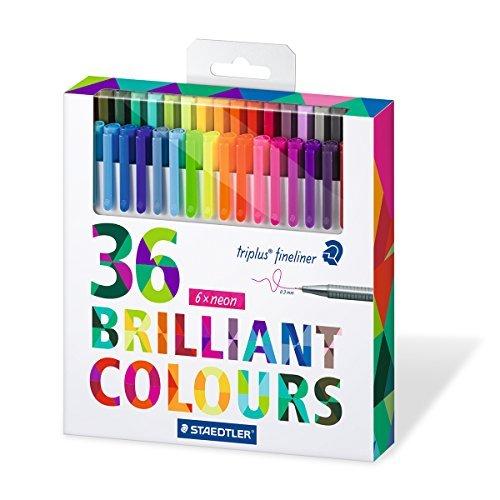 Staedtler Color Pen Set, Set of 36 Assorted Colors (Triplus Fineliner (Black N Red Colored Pen)