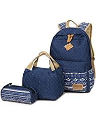 AM SeaBlue Canvas Teen Girl Backpack Girls Student School Bookbag with Lunch Bag