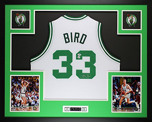 Larry Bird Autographed White Celtics Jersey - Beautifully Matted and Framed - Hand Signed By Larry Bird and Certified Authentic by PSA COA - Includes Certificate of Authenticity (Autographed Jersey White Celtics)