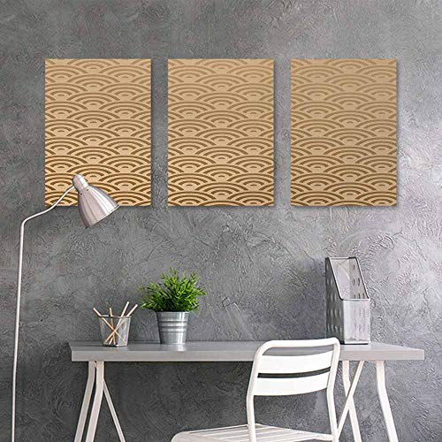 Custom Oil Painting,Beige,Oriental Wave Design Contemporary Illustration of Old Royal Pattern Mod Art Print,Contemporary Abstract Art 3 Panels,16x24inchx3pcs,French Beige Custom Panel French Door Refrigerator