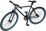 Retrospec Bicycles Mantra V2 Single Speed Fixed Gear Bicycle, Graphite/Teal, 49cm/Small