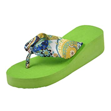 f6284155663ccd Amazon.com   SODIAL(R)Summer bohemia flower Women flip flops platform  wedges women sandals platform flip slippers beach shoes size 7 green    Sports   ...
