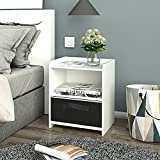 DEVAISE Wood Nightstand with 1 Drawer, Bedroom End Table with Shelf in White