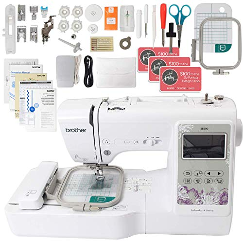 Brother Se600 Computerized Sewing And Embroidery Machine Bundle With 4 X 4 Embroidery Area Amazon In Home Kitchen