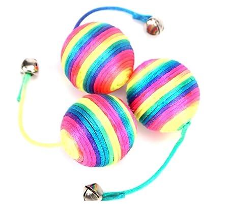 LIUQIAN Tease Gato Pelota Juguete Colorido Cuerda Sonido Gato Grab ...