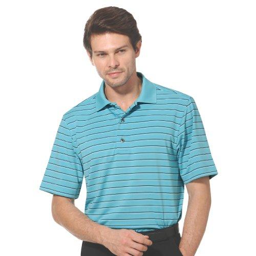 Monterey Club Mens Dry Swing Layer Thin Stripe Texture Polo Shirt #1642 (Still Water/Black, Medium)