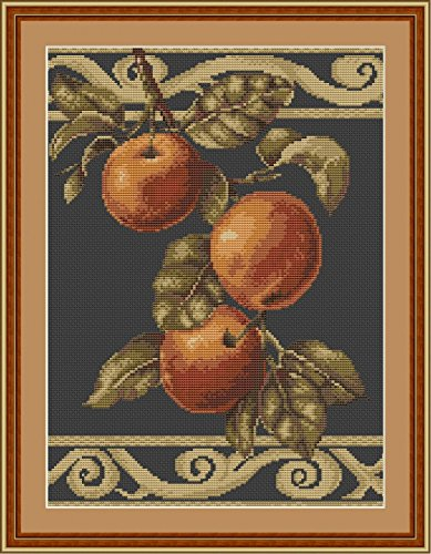 Luca-S Counted Cross Stitch Kit Apples on Black