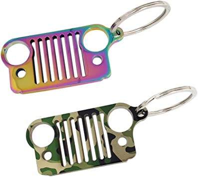CJ Enthusiasts TJ Patriot Great for Wrangler Liberty Ispeedytech 2 Packs Stainless Steel Jeep Grill Key Chain Keychain Keyring Renigade Cherokee Rubicon Rainbow+Camouflage Compass SRT