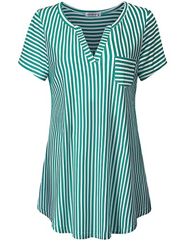 Woven Stripe Shirt Vertical (MOQIVGI Striped Blouse, Ladies Modern Casual Loose Fitting Tunics Short Sleeve Collarless Stretchable Breathable Cool Tops Spring Summer Fashion 2019 Shirs Green White X-Large)