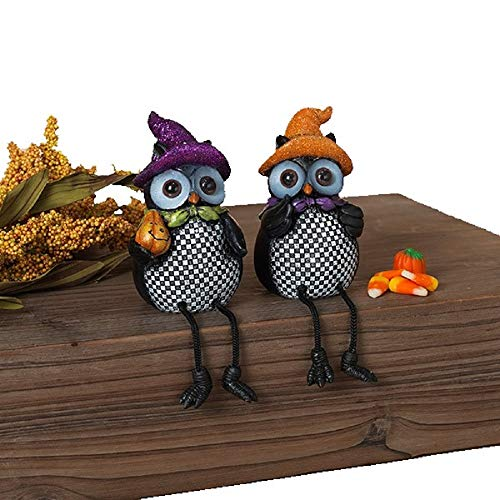 Animated Owl Halloween (Gerson Checkered Owls with Glitter Hats Fall Shelf Sitter Figurines - Set of)