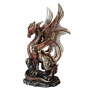 PTC 10 Inch Steampunk Inspired Mechanical Dragon Statue Figurine