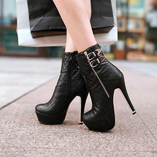 Best 4U? Women's Shoes PU Short Martin Boots Round-toe Grid Pattern Stiletto Zipper 13cm High Heels Red Black Black bU1UB