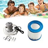 Swimming Pool Pump Filter, 300 Gallon Above Ground Pool Filters Cartridge Replacement Electric Circulation Pumps System for Hot Tub Flooded Cellar Rack Pond