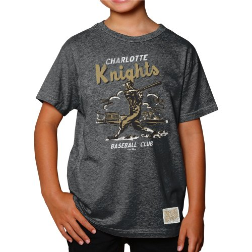 l Charlotte Knights Boys T-Shirt, Medium, Heather Black ()
