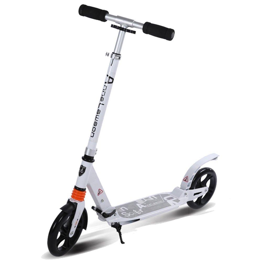 キックスクーター 成人用スクーター二輪アルミ大型車折り畳み成人用スクーター二輪二重衝撃吸収 持ち運びが簡単 (色 : ブラック) B07Q7B18DB 白 白