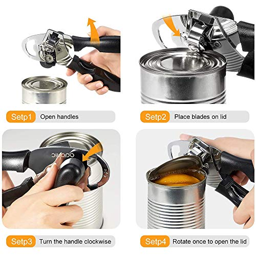 Can Opener, Tin Openers Manual, 4 in1 Stainless Steel Hand Held Can Openers, Safety/Smooth Edge Tin Can Opener & Bottle Opener with 2 Replaceable Spare Blades