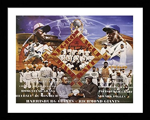 Black American League Frame - Black 1.5 inch Framed with Negro League Baseball, (Legends/History / Sports/African American Black Art / 3 J-22x28-13) 22x28 Inch Edward Clay Wright, Art Print & Poster
