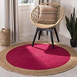 Safavieh Natural Fiber Collection NF801C Hand-Woven Fuchsia Pink and Natural Jute Round Area Rug (5' in Diameter)
