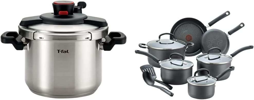 T-fal P45007 Clipso Stainless Steel Dishwasher Safe PTFE PFOA and Cadmium Free 12-PSI Pressure Cooker Cookware, 6.3-Quart, Silver & Ultimate Hard Anodized Nonstick 12 Piece Cookware Set, Black