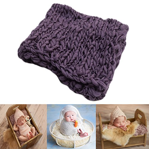 Baby Photography Props Basket Braid Wool Wrap Newborn Photo Shoot Baskets Filler Posing Stuffer Background Blanket (Purple)