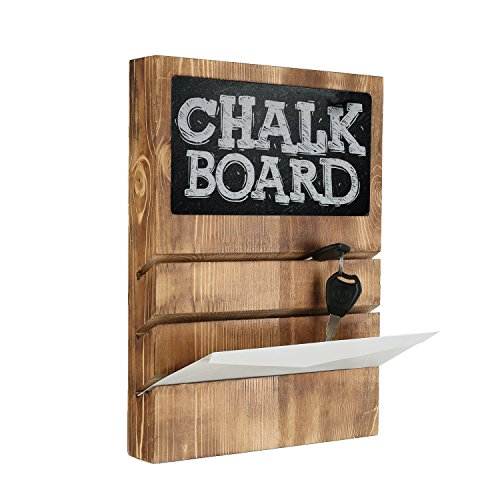Burnt Wood Wall-Mounted Mail Sorter & Key Holder Rack with Chalkboard, Brown (Mail Organizer 3 Slot)