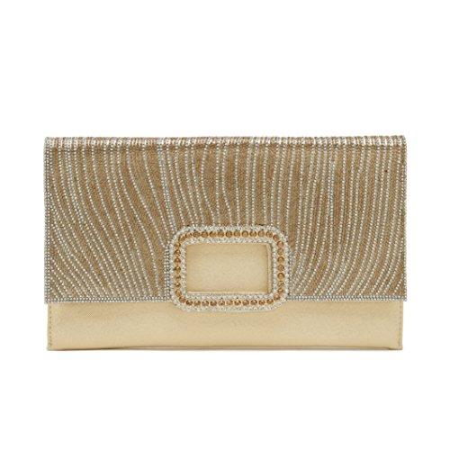 ChilMo Luxurious Rhinestone Clutch Purse Evening Bag Crystal Handbag Glitter Sequin for Party,Gold