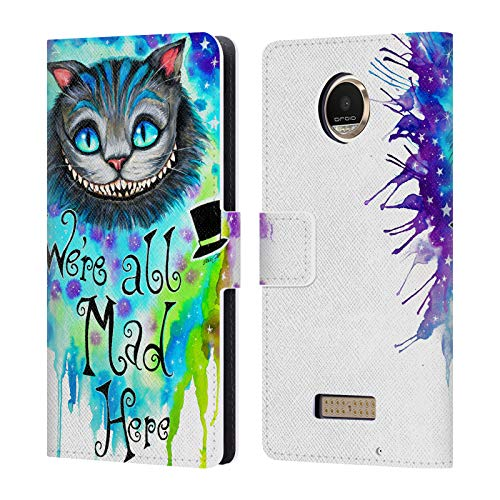 (Official Pixie Cold We are All Mad Here Cats Leather Book Wallet Case Cover for Motorola Moto Z Play/Droid)