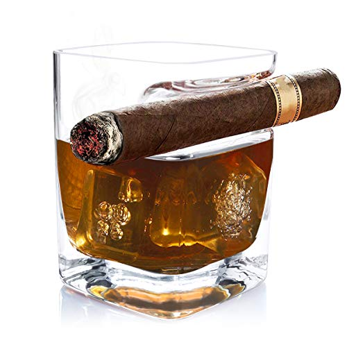 - Ansblue Cigar Glass with Cigar Holder, Square Mug, Double Old Fashioned, Wine Beer Tumblers Cigar Cigarette Lovers Gifts for Men and Women, Bar Cup Home Club Drinking Accessories