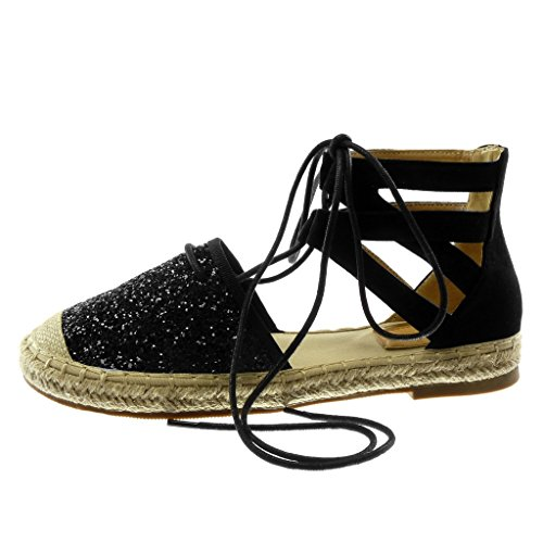Sandals High Angkorly Strap Thongs Espadrilles Shoes Ankle Fashion Cord Black cm Women's 2 Crossed Block Glitter Heel qtXfxFwXTn