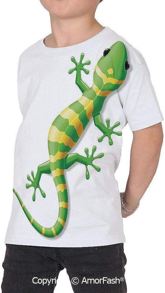 PUTIEN Reptile Crew Neck for Ultimate Comfort T-Shirt,Cartoon Lizard Movin