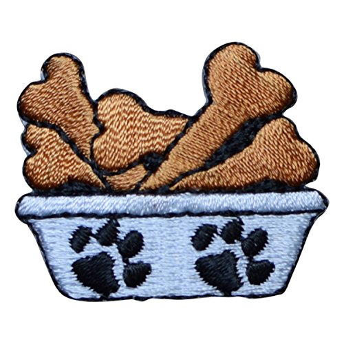 Dog Bowl with Bones and Paws Applique Patch (Iron on) - Bone Applique