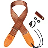 Phorcs Guitar Strap with Genuine Leather End for Electric Guitar Ukelele and Acoustic Bass - Include Guitar Picks & Guitar Strap Blocks & Button & Guitar Pick Holder Bracelet