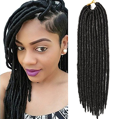 VRHOT 6packs Faux Locs Crochet Twist Hair Braids Synthetic Hair Extensions Fauxlocs Kanekalon Fiber Braiding Hair Afro Kinky Soft Dread Dreadlocks 1B Black Color 14