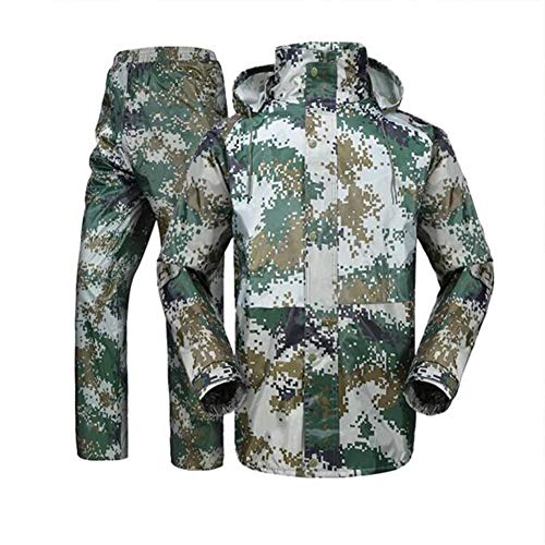 (GERUAFU Raincoat Suit, Oxford Waterproof Jacket Mesh Lining and Pants for,Mans,in Outdoor, Cycling, Fishing, Military Training, Rescue, Etc. (Army Green))