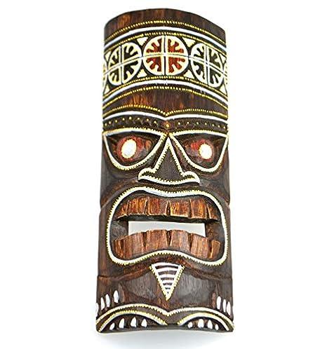 Decorazione Tiki. motivo colorato Maschera Tiki H30/cm in legno