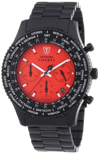 DETOMASO Men's Quartz Stainless Steel Casual Watch, Color:Black (Model: SM1624C-RD)