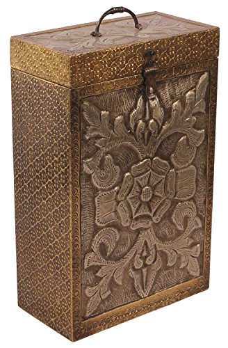 SouvNear Wine Box for 2 Bottles 14 Inch Large Holder Handmade in Wooden Embossed Brass Antique Look Unique Bar Accessories - Perfect Christmas-Gifts Ideas (Box Accessories Wine)