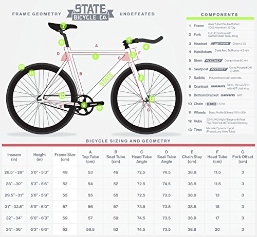 State Bicycle The Undefeated 2.0 7005 Aluminum Fixed Gear Bike, 55cm/Medium