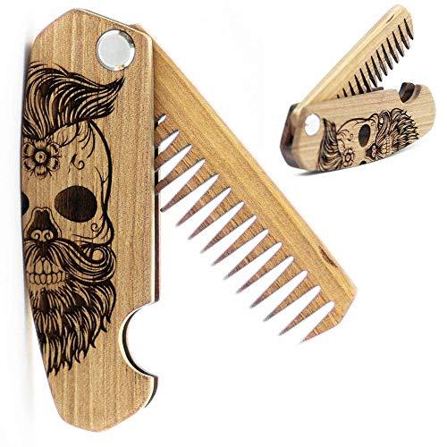 Wooden Beard Comb for Men. Folding Pocket Comb for Moustache, Beard & Hair. Walnut Combs Engraved w/Skull
