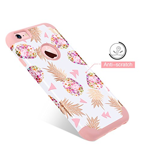 76f6f9326c38 GUAGUA iPhone 6S Case iPhone 6 Case Girls Women Pink Pineapple Slim Hybrid  Hard PC Cover Soft Silicone Glossy Shockproof Protective Anti-Slip Phone  Cases ...