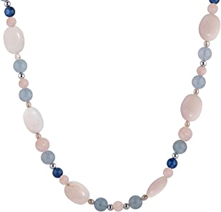 product image for Carolyn Pollack Sterling Pink and Green Calcite, Blue Kyanite, Quartz, Aquamarine and Pearl Gemstone Beaded Necklace 17, 24 and 32 Inch