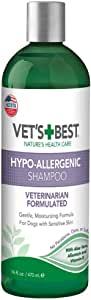Vet's Best Hypo-Allergenic Shampoo for Dogs   Dog Shampoo for Sensitive Skin   Relieves Discomfort from Dry, Itchy Skin   Cleans, Moisturizes, and Conditions Skin and Coat   16 Ounces