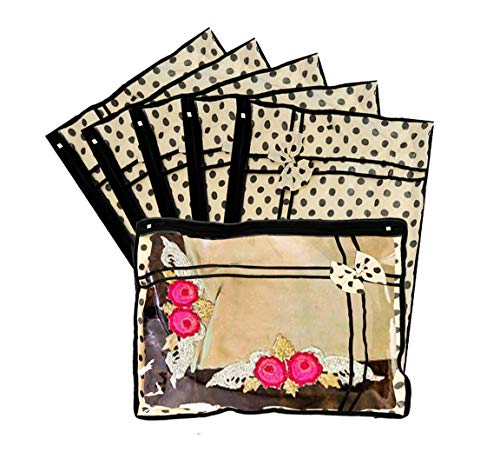 Kuber Industries Non Woven Dots Design Single Packing Saree Cover 6 Pcs Set  Ivory    CTKTC030710