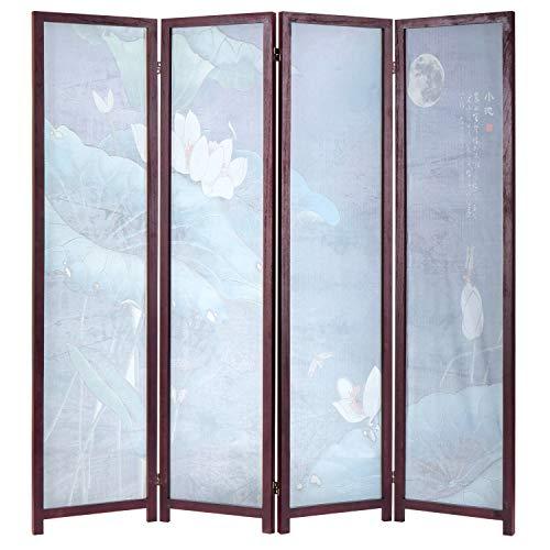 MyGift 4-Panel Japanese Lotus Flower Transparent Screen Divider