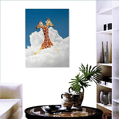 t Mint Canvas Wall Art Romantic Couple Giraffes on Clouds Happy Lovers Valentines Artful Style Display Wall Sticker Yellow Flowers 32