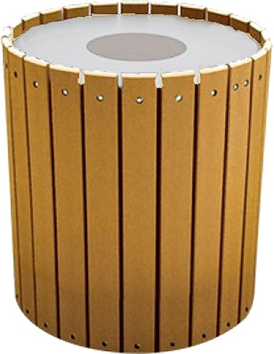 (Kay Park Recreation 132LRRPP-CDR 32 gal Trash Receptacle with Slats, Free Standing, Recycled Plastic, Cedar)